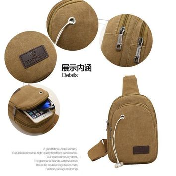 Canvas Outdoor Sport Shoulder Military Camping Hiking Tactical Bag Camping Hunting Backpack Utility Chest Bag With earphone hole
