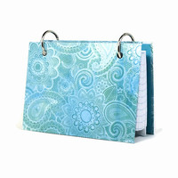 3 x 5 index card binder, blue paisley, daily memory journal, index card holder with a set of index card dividers