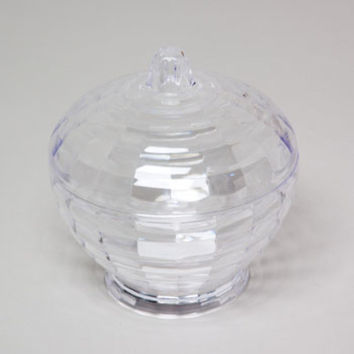 Candy Dish 2Pc 5.5D X 6H Clear Cut Glass Look Plastic Material Case Pack 48