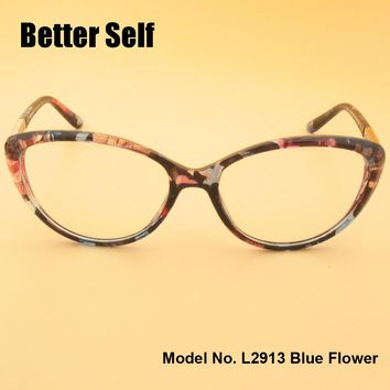 L2913 Full Rim Spectacles Beauty Eyewear PC Optical Eyeglasses Metal Decorate Optics Myopia Cat Eye Glasses Frames