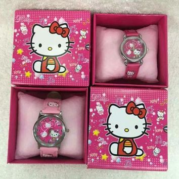 ac spbest 20Pcs Hello kitty kids boys girls children cartoon quartz  Children Wristwatch Watches With Boxes Party Favors Gift Toy