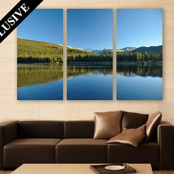 Lake Colorado Mountains Canvas Art 3 Panels Print Wall Decor Wall Art Nature Photography Art Print for Home and Office Wall Decoration