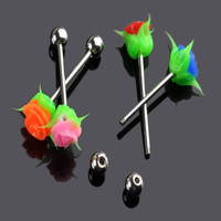 SIicone Solid Rose Stainless Steel Tongue Ring