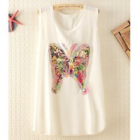 Colorfull Sequins Butterfly Sleeveless Chiffon T-shirt