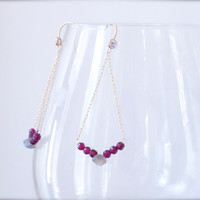 Garnet & Labradorite chain Moroccan earring Sparkly briolette gold filled Sexy elegant Ruby red plum Grey gem Bohemian luxe Victorian
