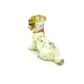 Mini Dog Figure Hubley Painted Place Card Holder Paperweight White Tan Terrier Miniature Animal Figurine Vintage 1930s American Collectible