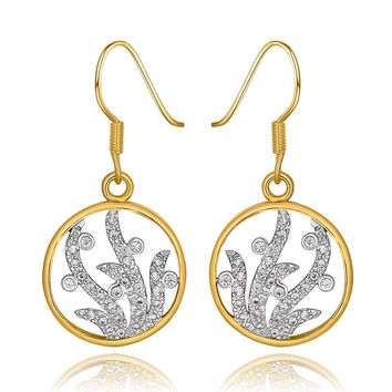 18K Gold Circular Tree Branch Drop Down Earrings Made with Swarovksi Elements