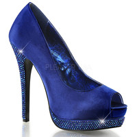 Blue Peep Toe Pump Featuring Rhinestone Lower Platform