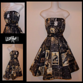 Nevermore Potions Skulls Raven Black and Gold Steampunk Sleeveless Top, Skirt and Waist Belt  - CUSTOM SIZE - by LoriAnn Costume Designs
