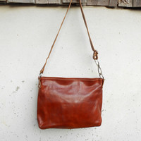 Vintage Chestnut Brown Leather Tote , Crossbody Tote , Shoulder // Medium // Made in Italy