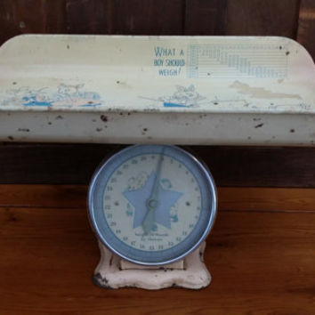 Vintage Mid Century Chippy Yellow and Pink Baby Scale Great Nursery Decor Photo Prop