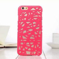 Red Candy Color Hollow Out Bird's Nest Phone Back Cover Case Shell For iPhone 4s 5 5s SE 6 6s