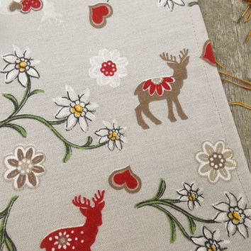Christmas Towel Deer Towel Christmas Decor Bavarian Scandinavian Christmas Gift Kitchen Towel Reindeer Stag Edelweiss Flower Tea Towel