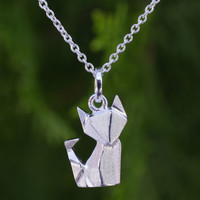 Sterling silver pendant necklace, 'Origami Fox'