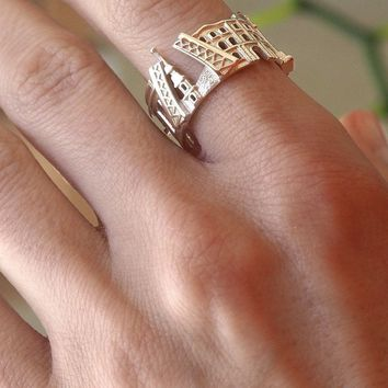 Saint Petersburg Cityscape Sterling Silver Statement Ring - Wearable Art!