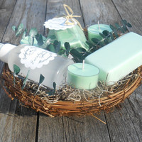 Eucalyptus  Nature Themed Birds Nest  Soy Candle Gift Basket Rustic