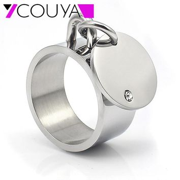 COUYA 2018 Crystal Silver 316L Stainless Steel Unique Gift Party Punk Rock Couples Rings Bijouterie Woman And Man Jewelry