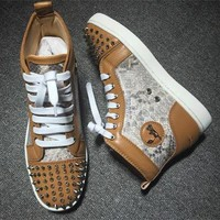 Cl Christian Louboutin Lou Spikes Style #2208 Sneakers Fashion Shoes - Best Deal Online