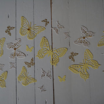 3D paper monarch butterflies of textured card stock wall art in off white, yellow and shimmering gold art deco paper --- Nursery decor