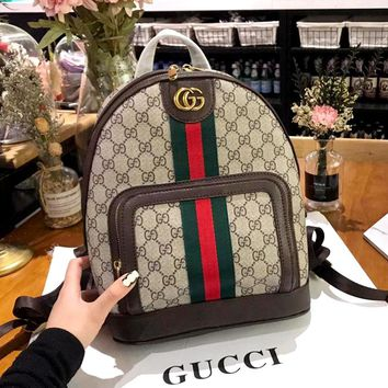 GUCCI 2019 new double G printing color stripe zipper backpack