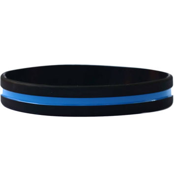 Thin Blue Line Silicone Bracelet
