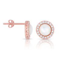 Sterling Silver Mother of Pearl with White CZ Helo Jackets Princess Diana Earrings Rose Gold Finish