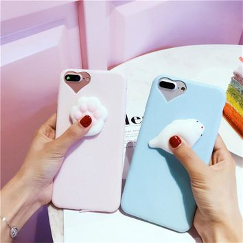 KISSCASE For iPhone 8 7 Plus 6S 6 Plus Case Cute Kneading Doll Cat Dolphin Stress Reliever Back Cover For Apple iPhone 5 5S SE