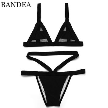 bikini Women's Sexy Hollow Bandage Swimsuit Mesh Bikini Set Swimwear Sexy Mini String bandage bikini