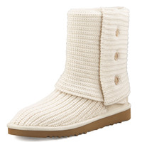 Classic Cardy Crochet Shearling Boot, Cream - UGG Australia - Cream/Natural (11.0B)