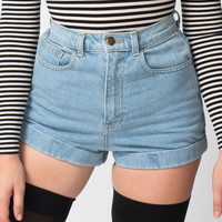 Medium Wash High-Waist Jean Cuff Short