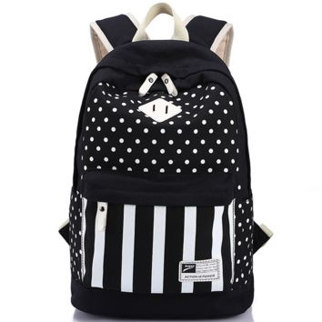 Polka Dots Laptop Travel Bag Backpack for College Vintage Daypack School Bookbag