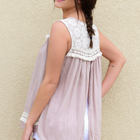 Ferris Wheel Latte Lace & Fringe Sleeveless Top