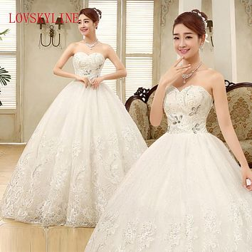 Distinctive Design Lace wedding dress formal dress 2017 bride tube top wedding dress plus size slim luxury