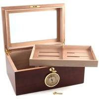 Cherry Wood Glass Top Cigar Humidor - 100ct.