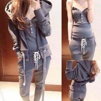 DCCKIX3 2014 Fashion Sport Suit Women Sweatshirt Galaxy Pullovers Solid Hoodies Casual Tracksuits 3pcs Women Sets Clothing = 1932583044