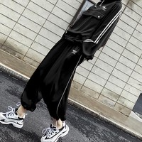 """Adidas"" Women Casual Loose Fashion Big Pocket Stripe Long Sleeve Hooded Trousers Set Two-Piece Sportswear"