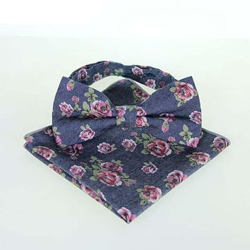 Mens Bow Ties Handkerchiefs Sets Business Suits Wedding Floral Slim Bow Tie Cravat Pocket Square Set
