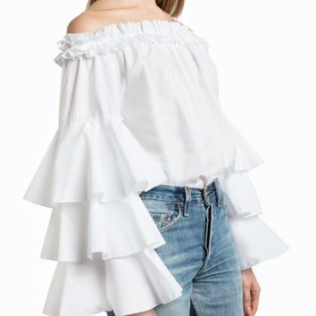 White Off Shoulder Layered Flare Sleeve Blouse