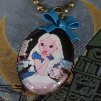 1- Alice in Wonderland Necklace with Blue Bow Finished Ooak Oval Glass Setting Chain Necklace Mad Hatter Tea Party
