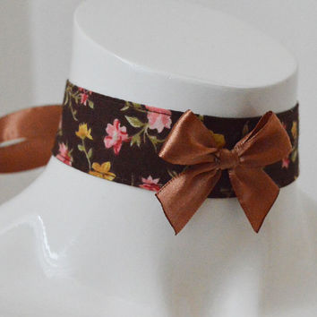 Steampunk choker - Vintage girl - brown collar with flowers - sweet lolita kawaii - kitten play petplay ddlg neko costume