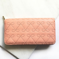 Pink Embroidered Bow Wallet Clutch