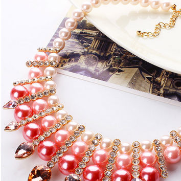 Luxury Faux Pearl Crystal Necklace
