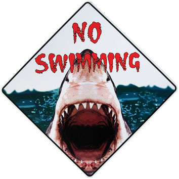 No Swimming Shark Aluminum Sign