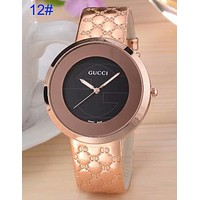 Gucci Pu Watchband More Print Logo watches men's and women's fashion watches B-CTZL Rose gold