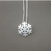 Snowflake Sterling Silver Necklace, 925 Silver Snowflake Necklace, Bridesmaid Earrings, Bridal, Wedding, Teenage, Gift