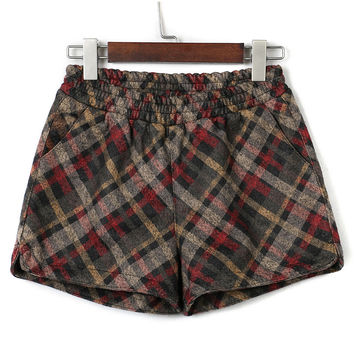 Multicolor Plaid Elastic Waist Woolen Shorts