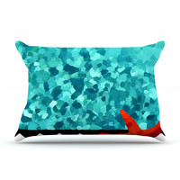 "Oriana Cordero ""Turquoise Ocean"" Blue Aqua King Pillow Case - Outlet Item"