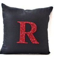 Amore Beaute Handmade Customize Red Sequin Monogram Decorative Pillow Cover- Monogrammed Throw Pillow Cover - Pillow Cover - Black Linen Pillow - Black Cushion Cover - Cushion Cover - Couch Pillow Cover - Monogramed Sham (16x16)