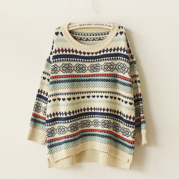 Beige Christmas Snowflake Asymmetric Knit Sweater