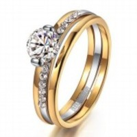 stuning crystal wedding ring free shipping 18K yellow Gold Plated Nice Gift R99